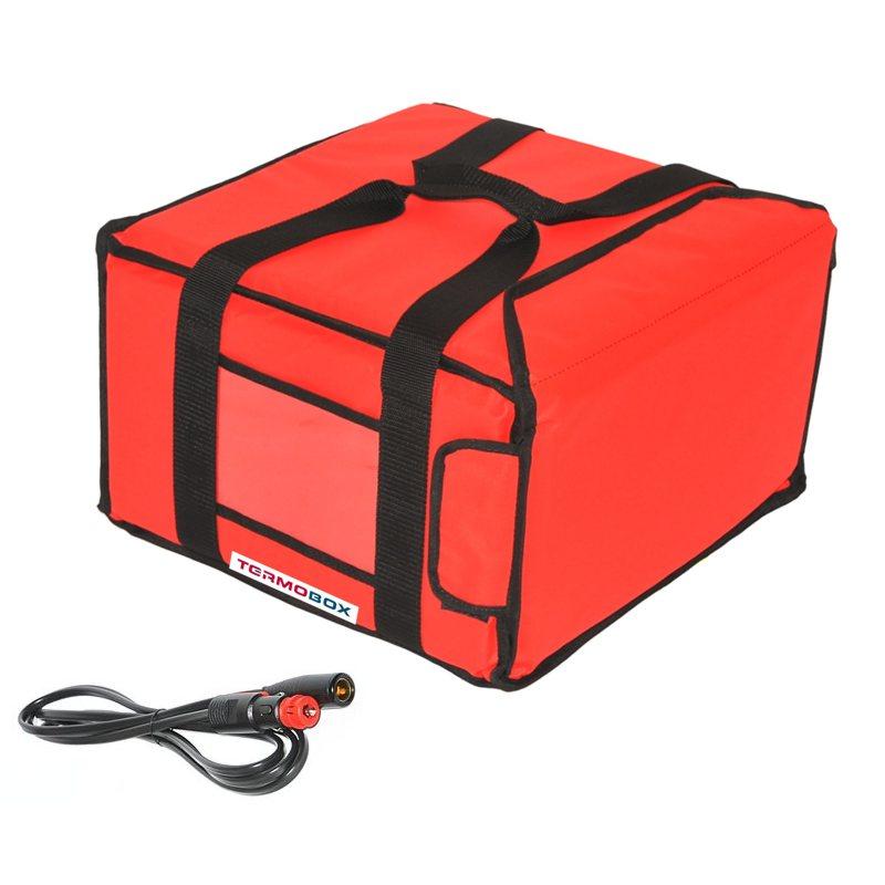 Pizza taška 35x35x20 cm vyhřívaná červená